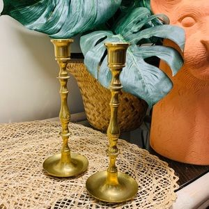 Vintage Pair of Gatco Solid Brass Candlesticks